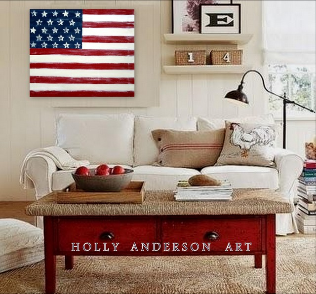 Contemporary abstract painting distressed americana for Best brand of paint for kitchen cabinets with american flag framed wall art