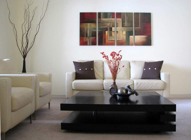 Contemporary abstract paintings modern living room for Contemporary living room art