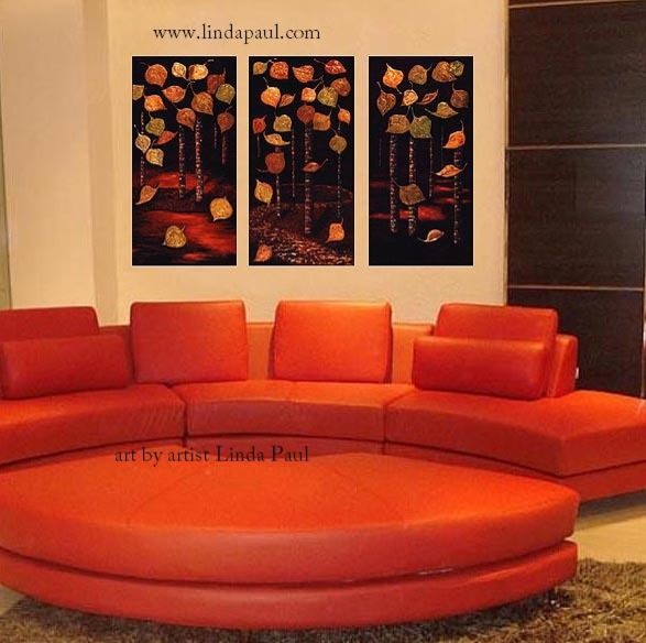 Contemporary Art Over Red Sofa   Living Room Decor Contemporary Living Room Part 39