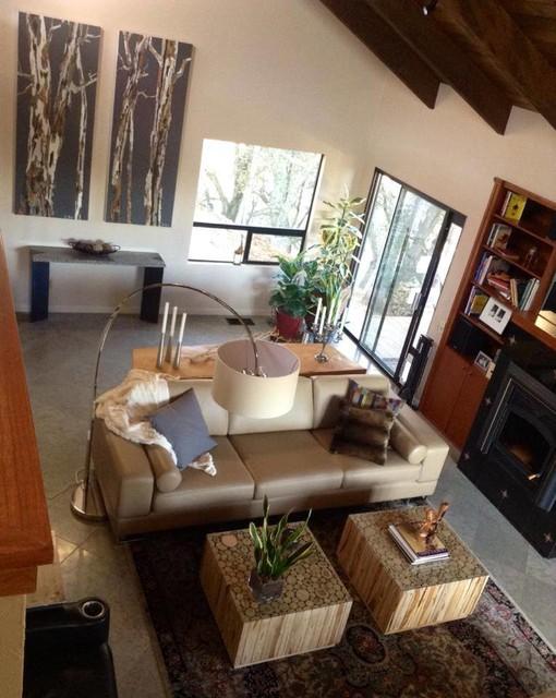 Contemporary artwork living room oversized tree art - Beige and gray living room ...