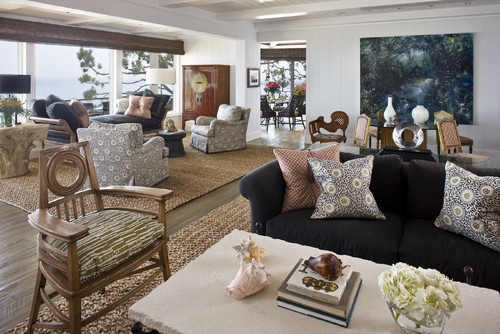 A rope rug in a contemporary living room