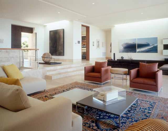 Trendy Living Room Photo In San Diego With White Walls