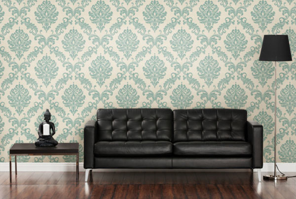 Contemporary blue damask wallpaper contemporary living - Blue wallpaper living room ...