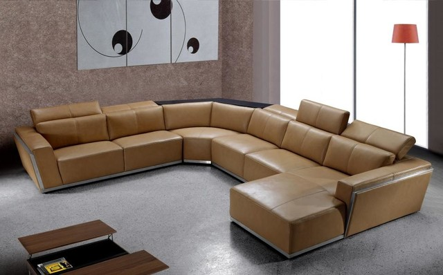 Contemporary Brown Leather Sectional With Retractable Headrests Modern Living Room