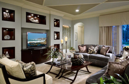 Contemporary Built In Media Unit Living Room