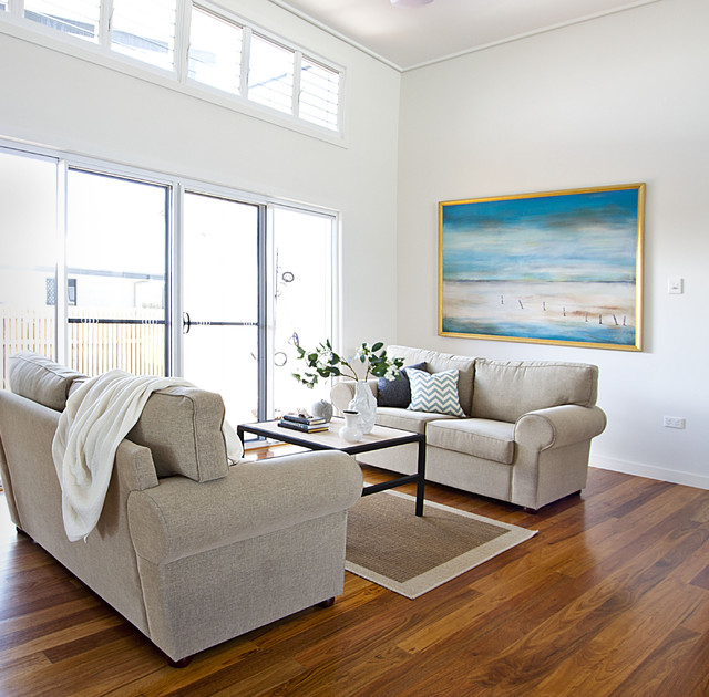 Contemporary Coastal Home Beach Style Living Room Brisbane on eclectic sitting room chairs