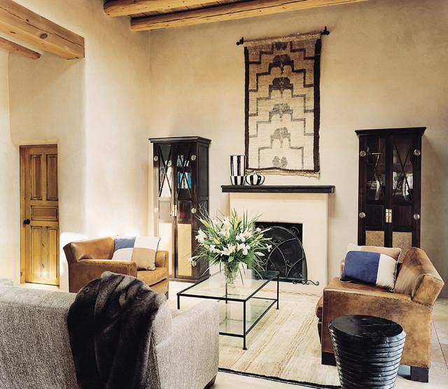 Contemporary comfort santa fe interior design for Southwestern living room designs