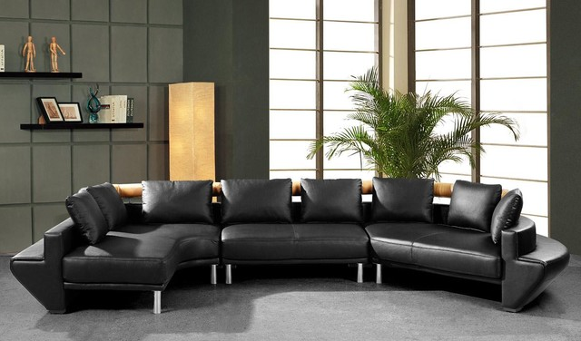 Contemporary Curved Sectional Sofa in Black Leather - Modern ...