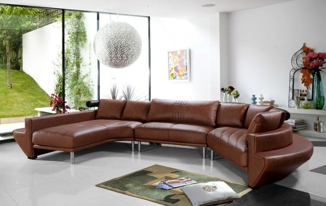 Contemporary Curved Sectional Sofa In Brown Leather Modern Living Room