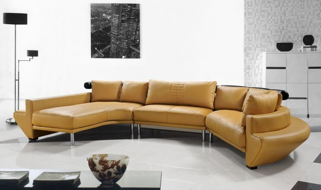 Contemporary Curved Sectional Sofa In Mustard Leather Modern Living Room