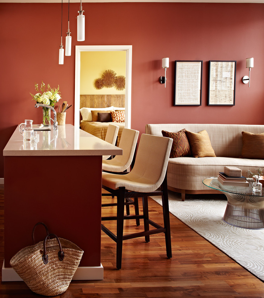 Inspiration for a small contemporary medium tone wood floor living room remodel in San Francisco with a bar, red walls and a wall-mounted tv