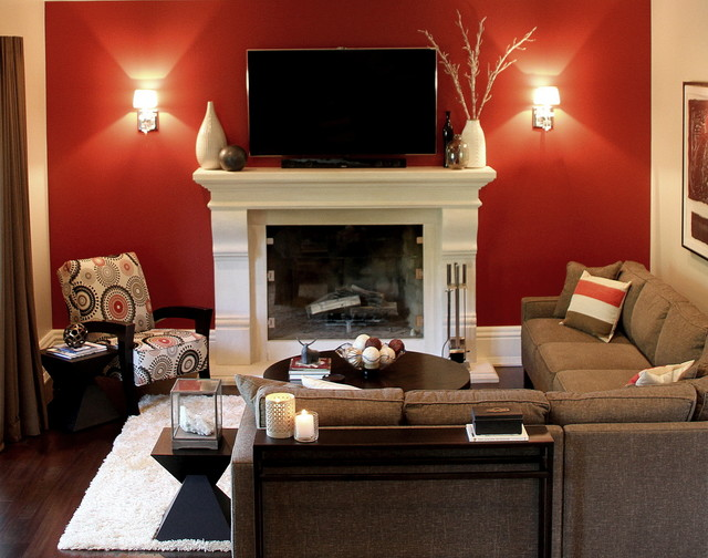 Contemporary Family Room With Red Accent Wall