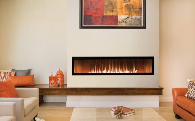 Contemporary Fireplace in Living Room with Orange Accents ...