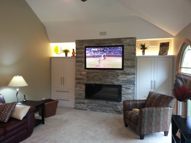 A contemporary living room make-over.  The clients wanted to update their 1990's style fireplace