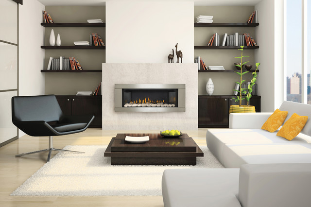 LHD45 Vector 45 Linear gas fireplace with River Rock media and stainless Steel surround in Media room [Napoleon]