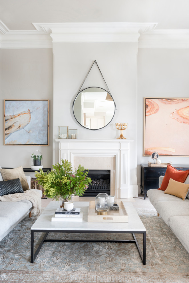 Transitional open concept beige floor living room photo in Brisbane with gray walls and a standard fireplace