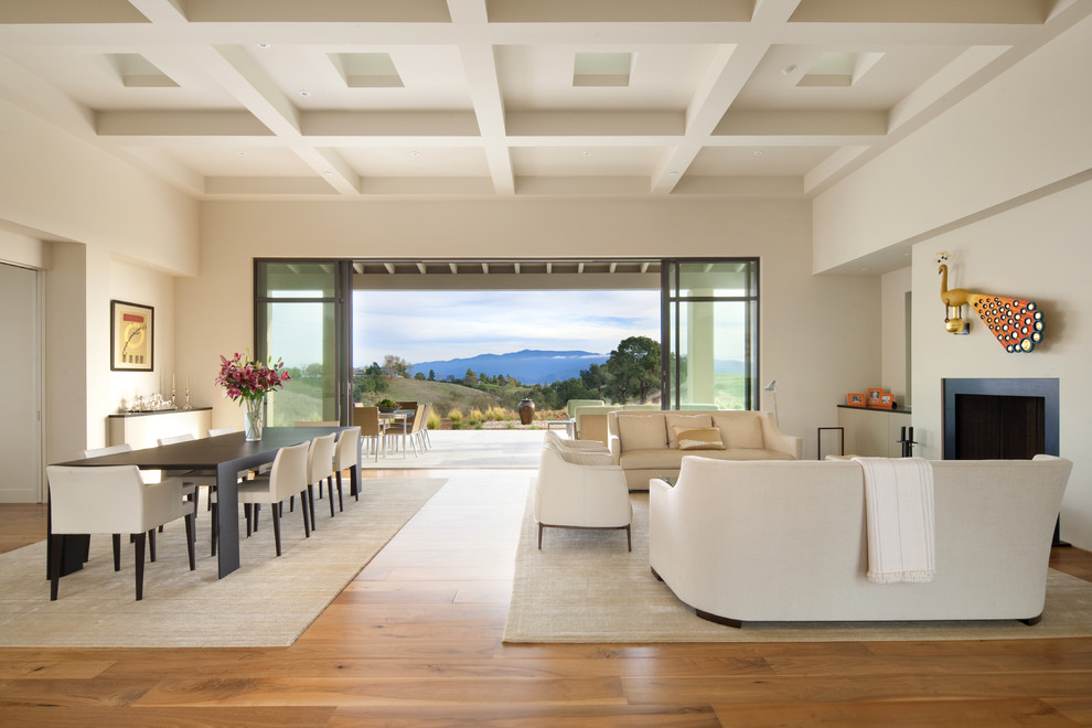 Trendy living room photo in Santa Barbara with a standard fireplace and no tv