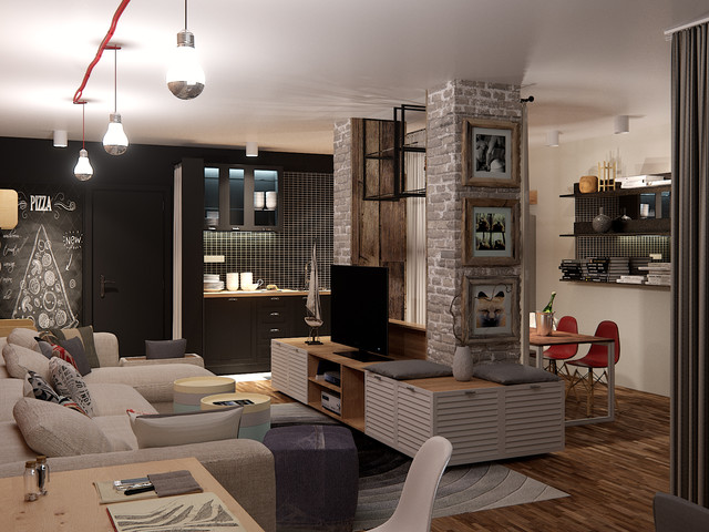 Contemporary Industrial Livingroom