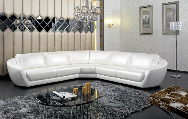 Contemporary Italian White Pearl Leather Sectional Sofa