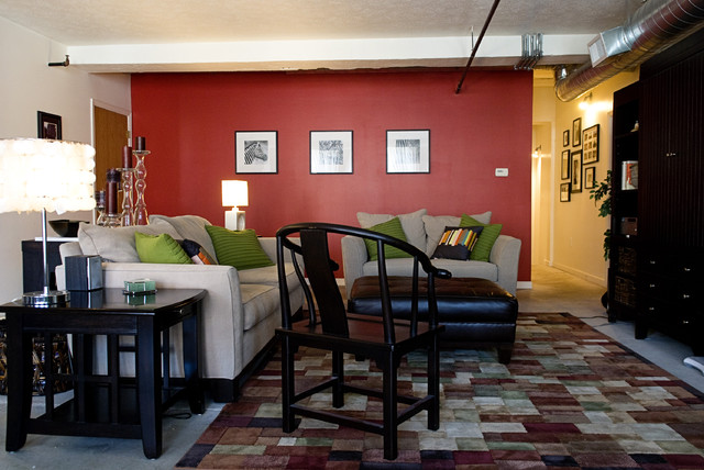 Example Of A Trendy Living Room Design In Omaha With Red Walls Part 51