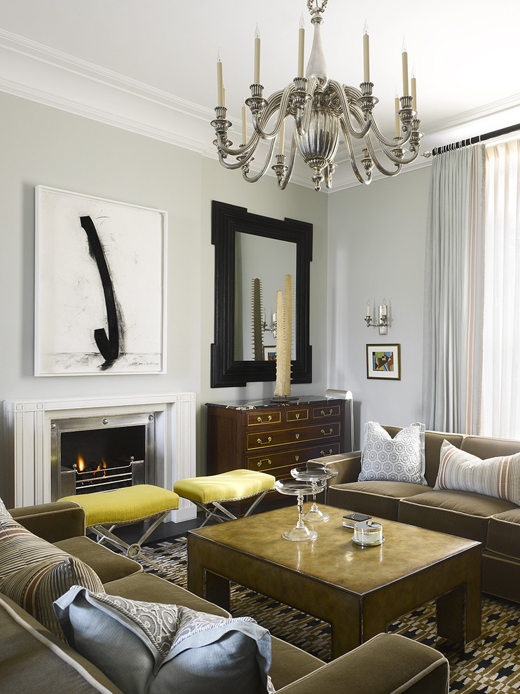 Living room - contemporary living room idea in Philadelphia with gray walls and a standard fireplace