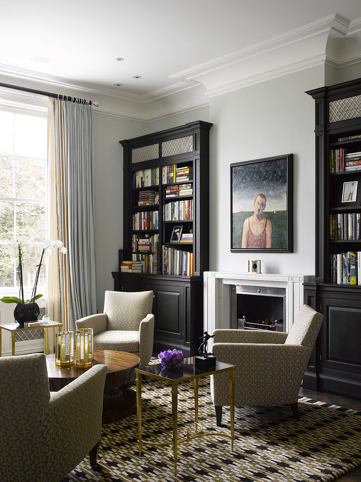 Inspiration for a contemporary living room library remodel in Philadelphia