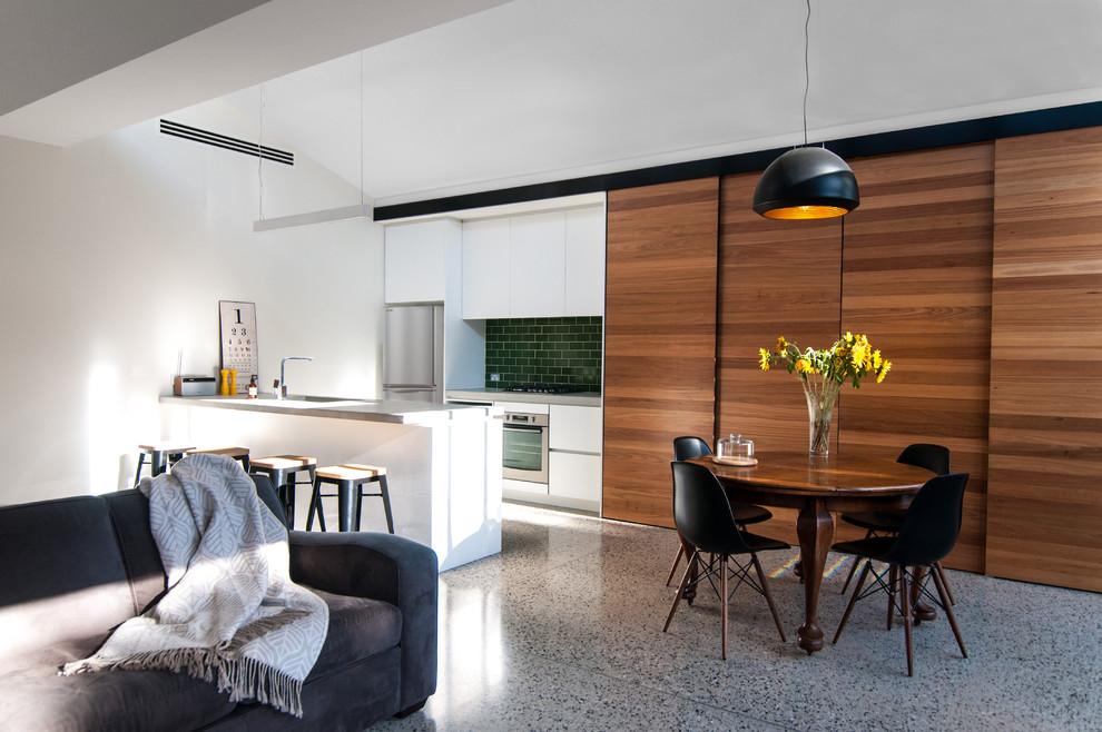 Living room - contemporary gray floor living room idea in Melbourne