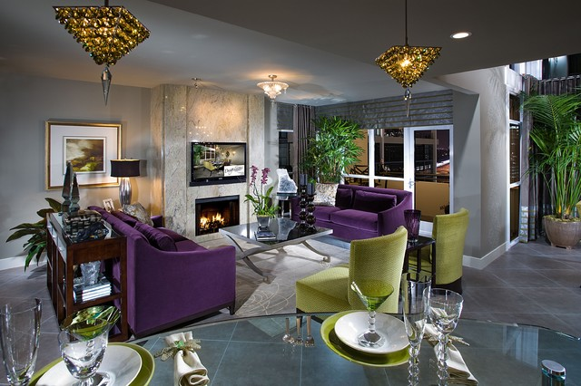Contemporary hollywood glamour contemporary living for Glam modern living room