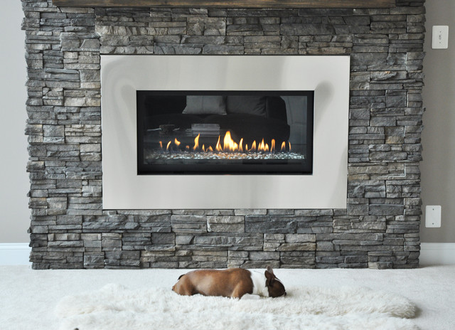 Stone fireplace renovation contemporary living room dc metro by domain design - Modern fireplace living room design ...