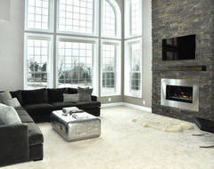 Stone Fireplace Renovation modern living room