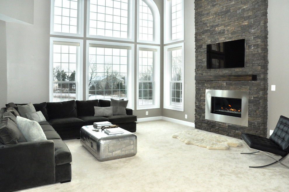 Inspiration for a contemporary living room remodel in DC Metro with a ribbon fireplace