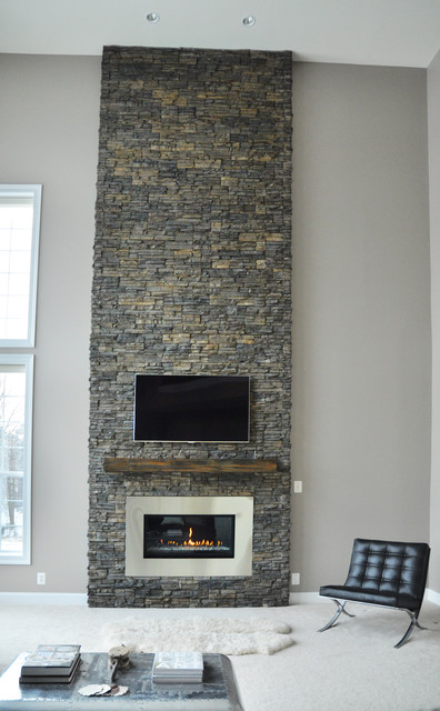 Stone fireplace renovation contemporary living room dc metro by domain design - Large contemporary stone fireplace ...
