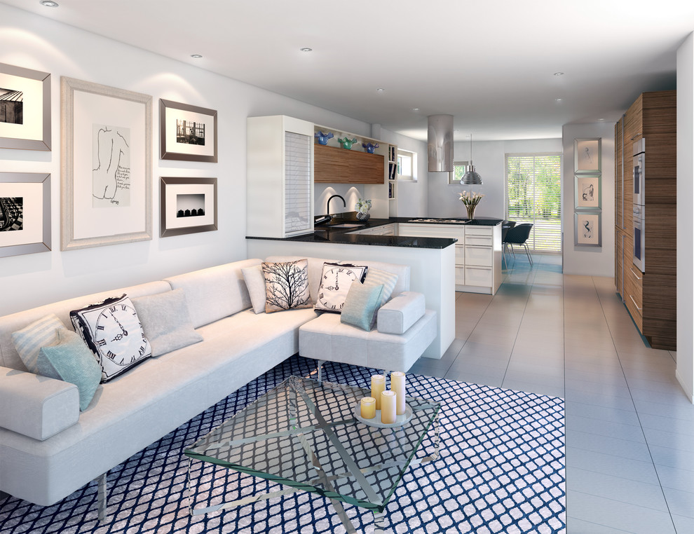 Example of a trendy open concept living room design in London with white walls