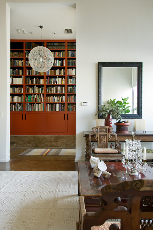Marsala Bookcases: Bill Beazley Homes teaches homeowners how to decorate their home with Pantone's Color of the Year