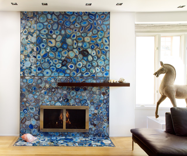 Antolini Agate Stone Fireplace - contemporary - living room - los ...