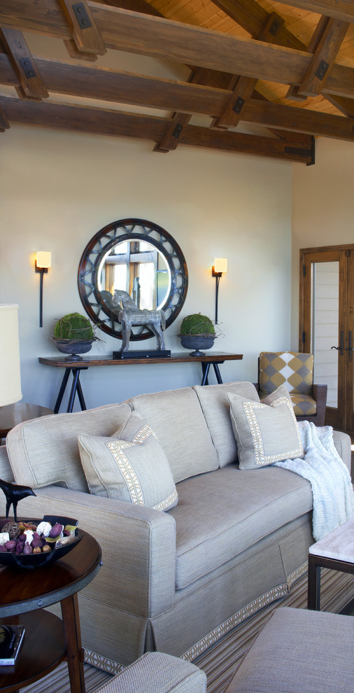 Example of a trendy living room design in Minneapolis with beige walls