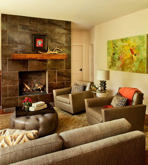 Refined Hand Hewn Contemporary Living Room Portland