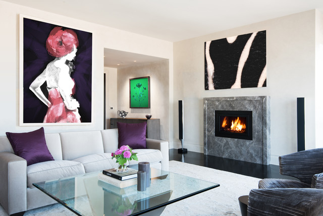 contemporary living room idea in new york with beige walls a standard fireplace and a - Fireplace Design Ideas