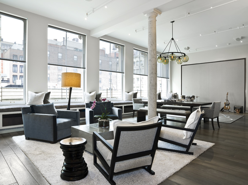 Living room - contemporary open concept living room idea in New York