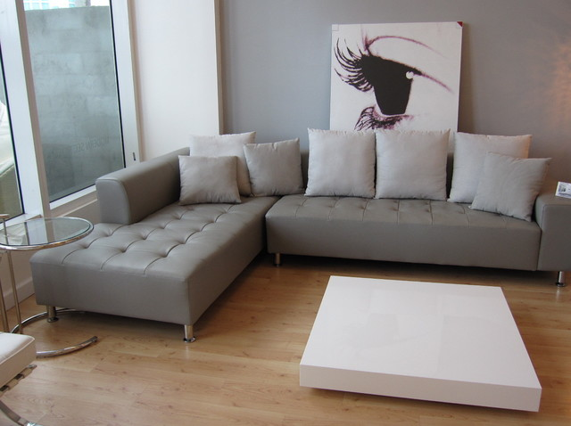 Sophia Sectional - $1499  -  Thick top grain Grey Leather contemporary living room