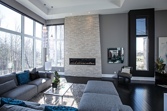 Grey Living Room with Stone Fireplace 640 x 426