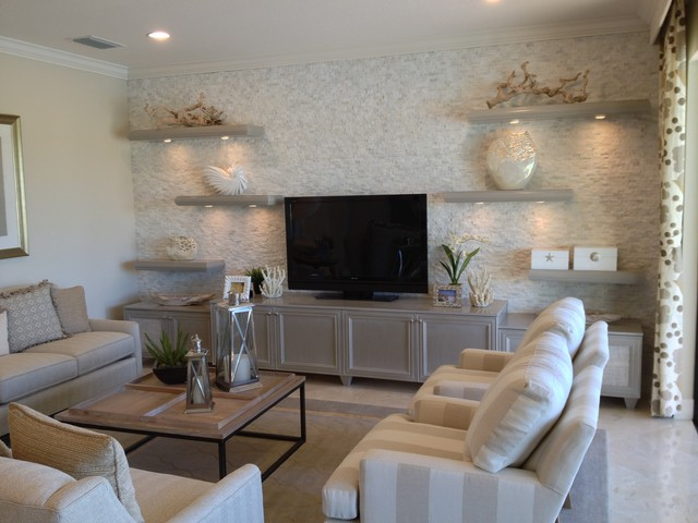 """Riverstone"" models inspirational pictures. Stacked stone, floating shelves - Contemporary ..."
