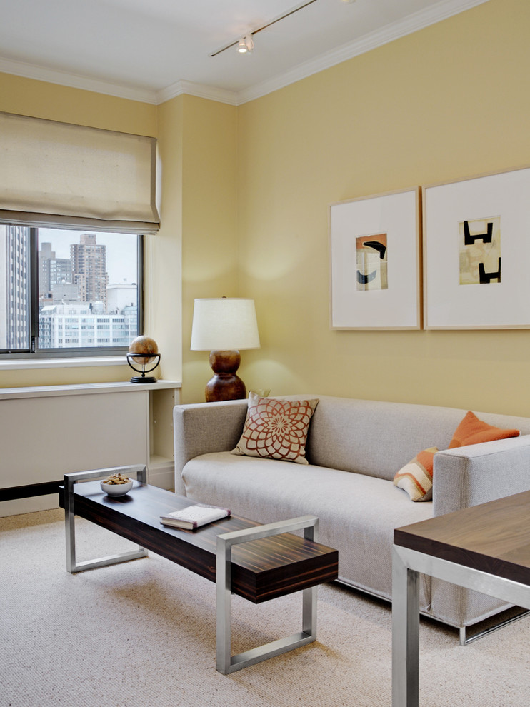 Trendy living room photo in New York with yellow walls