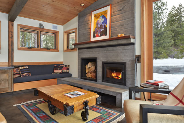Contemporary living room - Contemporary fireplace insert for a warm living room ...