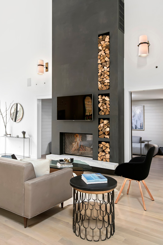 Inspiration for a contemporary open concept light wood floor living room remodel in Chicago with white walls, a standard fireplace and a wall-mounted tv