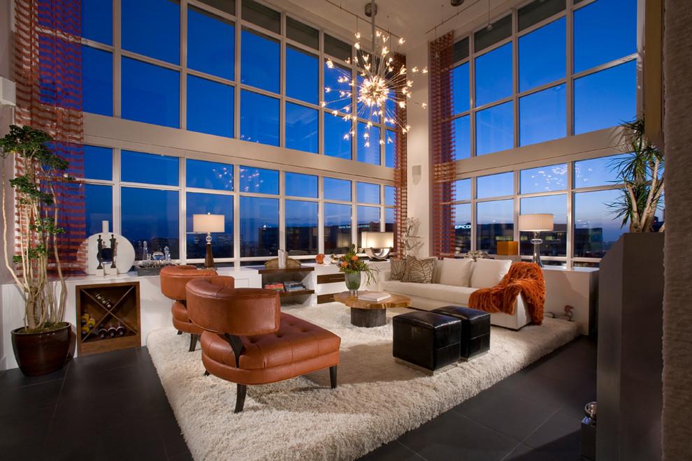 Trendy open concept living room photo in Orange County