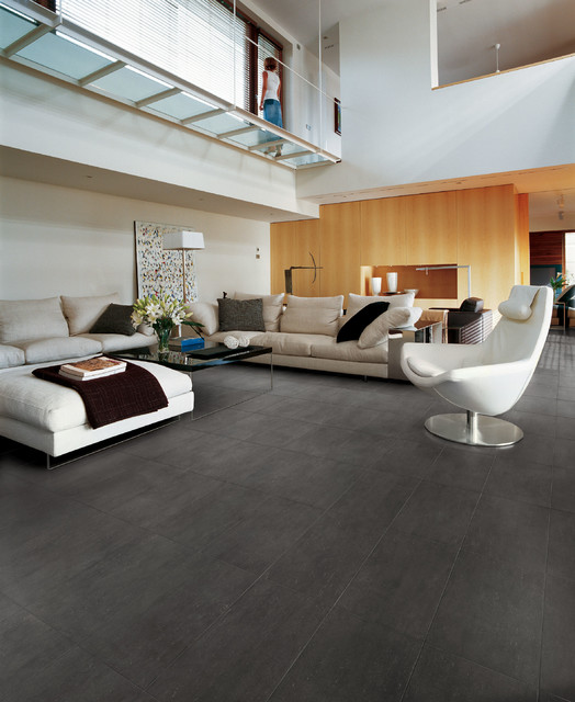 Phoenix Tile Charcoal Living Room Floor - Contemporary - Living Room ...