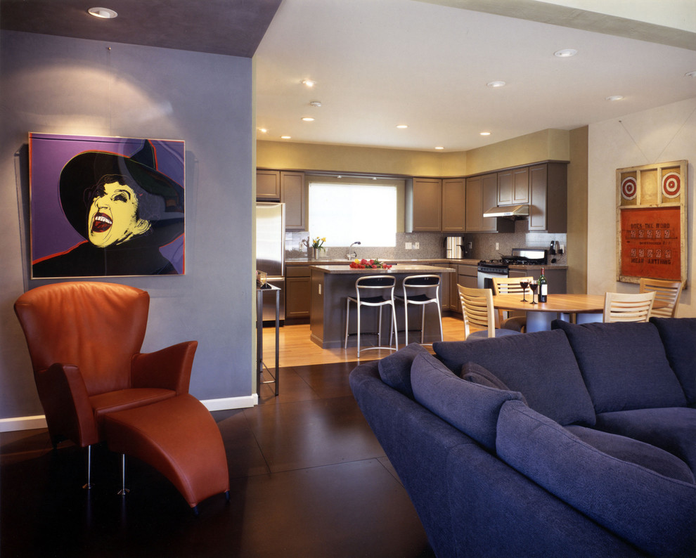Trendy living room photo in Seattle with blue walls