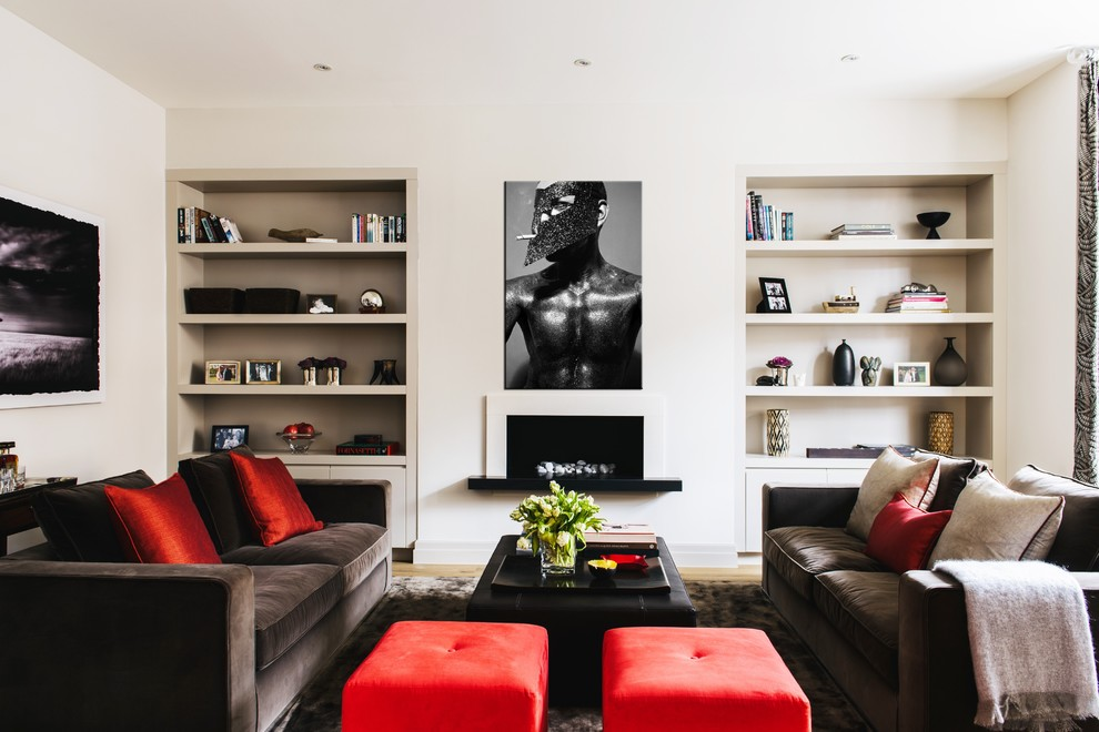 Living room - contemporary formal light wood floor living room idea in London with white walls, a ribbon fireplace and a plaster fireplace