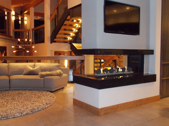 Contemporary living room for Three way fireplace